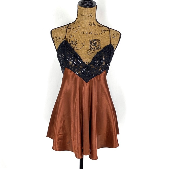 Size Small Vintage Brown Victorias Secret Nightie Short Nightgown Brown Satin and Lace Animal Print Nightie Victorias Secret Nightie